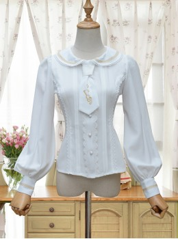 Round Collar White Embroidered Slim Lolita Long Sleeve Shirt