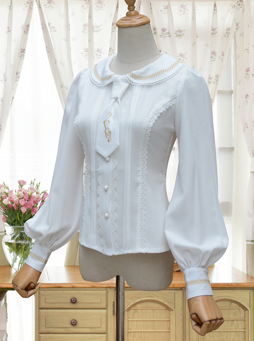 Round Collar White Embroidered Slim Lolita Long Sleeve Shirt