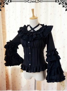 Retro Long Trumpet Sleeve Classic Lolita Shirt