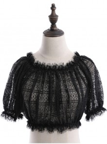 Off Shoulder Lolita Puff Sleeve Lace Short Blouse