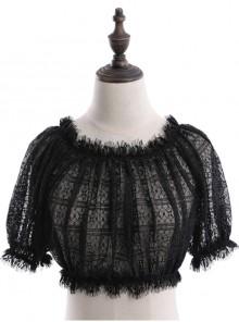 Off Shoulder Lolita Puff Sleeve Lace Short Blouse