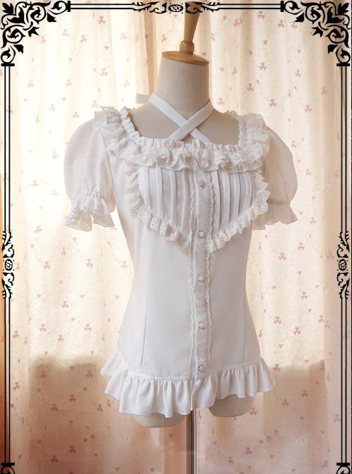 Elegance White Rayon Classic Lolita Short Sleeve Shirt