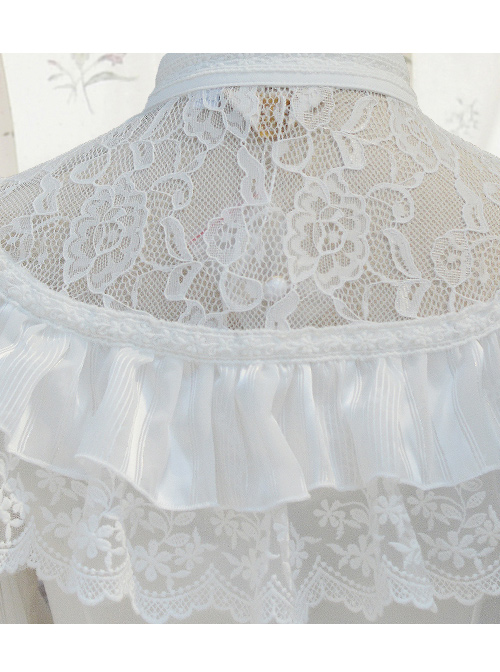 Chiffon Retro Slim Small Standing Collar Lolita Long Sleeve Shirt