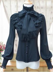Retro Stand Collar Bowknot Tie Lolita Lantern Sleeve Shirt