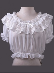 Chiffon Lace Short Puff Sleeve Lolita Short Shirt