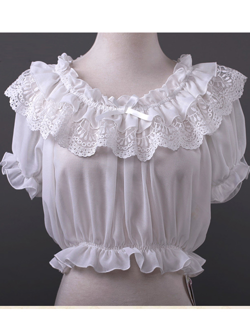 Chiffon Lace Short Puff Sleeve Lolita Short Shirt