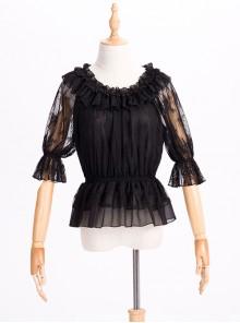 Chiffon Lace Circular Collar Lolita Half Sleeves Blouse