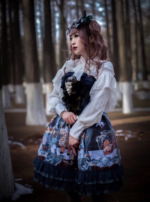 Retro Bowknot Chiffon Lolita Ruffles Long Sleeve Shirt