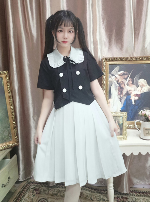 College Style Retro Cute Double-breasted Lolita Blouse