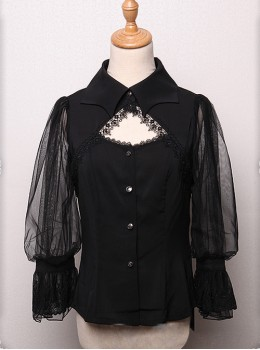 Bat Collar Black Long Sleeve Gothic Lolita Shirt