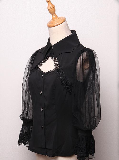 Bat Collar Black Long Sleeve Gothic Lolita Shirt