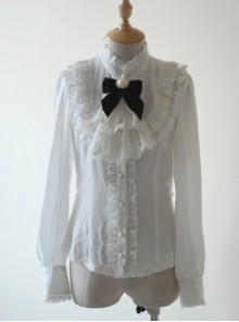 Rice-white Ruffle Stand Collar Classic Lolita Long Sleeve Shirt
