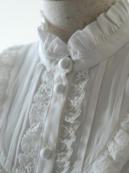 Rice-white Ruffle Stand Collar Classic Lolita Long Sleeve Shirt