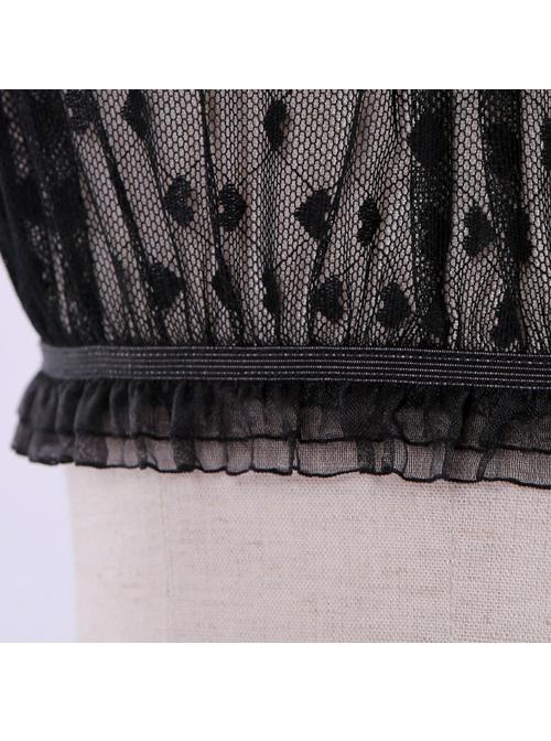 Heart-shaped Wave Point Lace Lolita Super Short Shirt