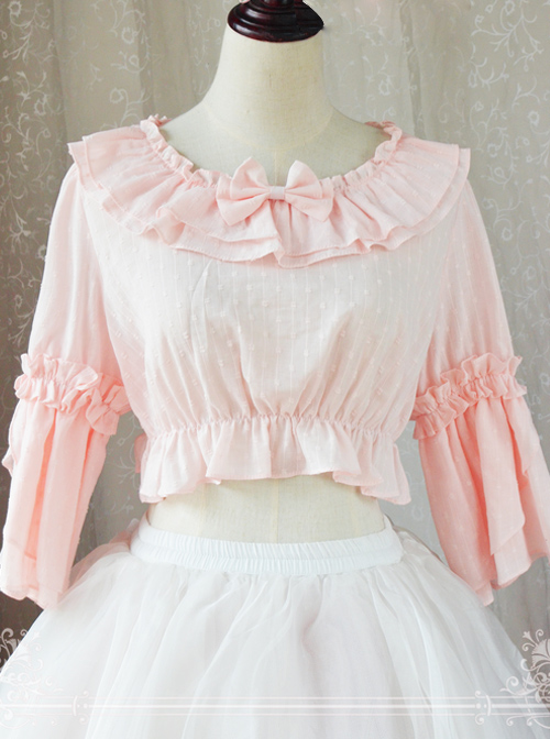 Magic Tea Party Trumpet Sleeves Cotton Classic Lolita Short Style Shirt