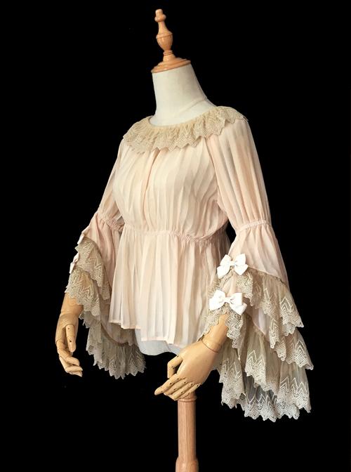 Fairytale Town Dance Party Series Chiffon Lace Classic Lolita Trumpet Sleeve Shirt