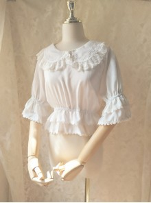 Cute Doll Collar White Chiffon Sweet Lolita Half Sleeve Shirt