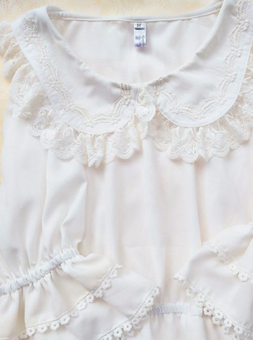 Cute Doll Collar White Chiffon Sweet Lolita Half Sleeve Shirt