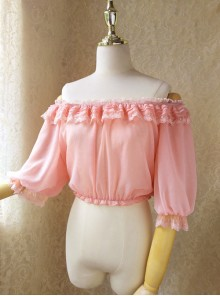 Pure Color Chiffon Classic Lolita Half Sleeve Shirt
