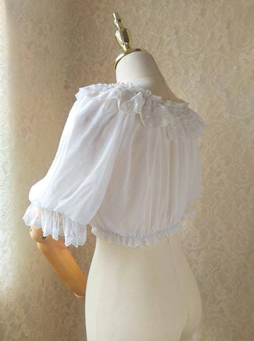 Pure Color Chiffon Classic Lolita Half Sleeve Shirt
