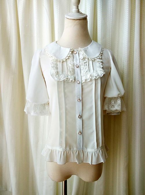 Milky Chiffon Classic Lolita Short Trumpet Sleeve Shirt