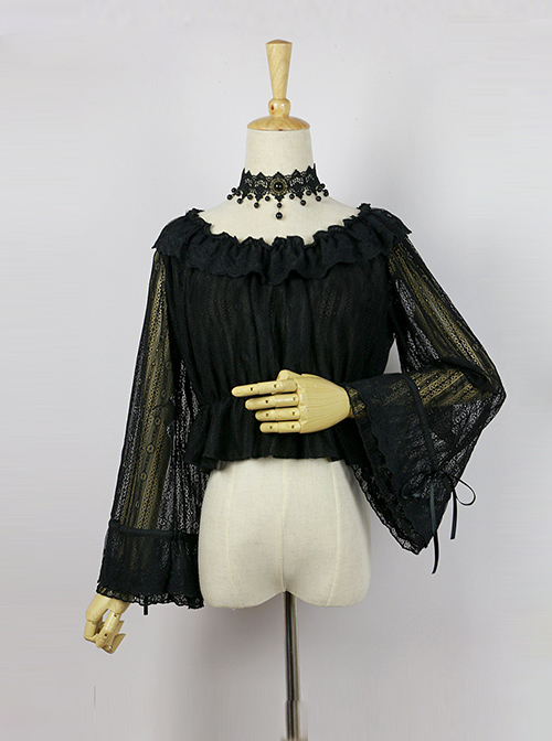 Retro Elegant Lady Lace Trumpet Long Sleeve Classic Lolita Shirt