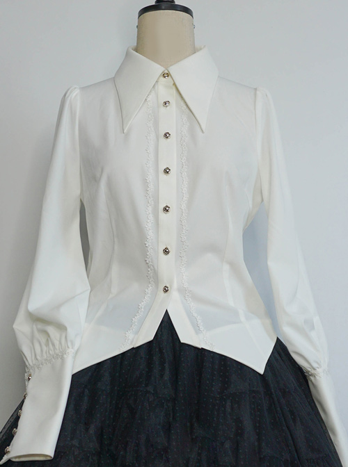 Love And Death Series Peaked Lapel Puff Sleeves Lolita Shirt