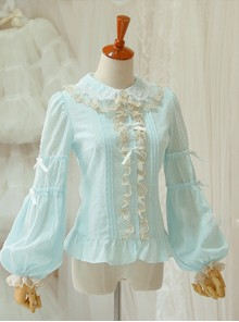 Double Layer Jacquard Cotton Long Sleeve Lace Shirt