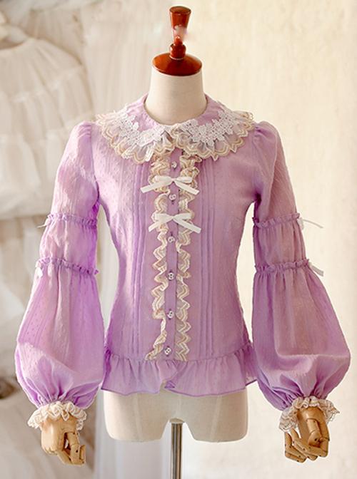 Double Layer Jacquard Cotton Long Sleeve Lace Shirt