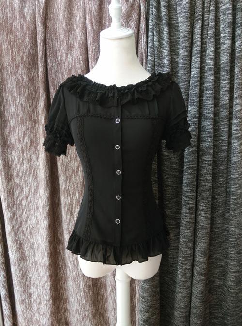 Chiffon Lace Ruffle Round Collar Slim Lolita Shirt