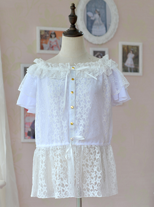 Hollow Out Lace Classic Lolita Fly Sleeve Shirt
