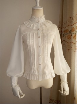White And Black Stand Collar Classic Lolita Sheep Legs Sleeve Shirt