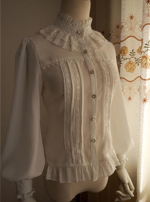 White And Black Stand Collar Classic Lolita Sheep Legs Sleeve Shirt