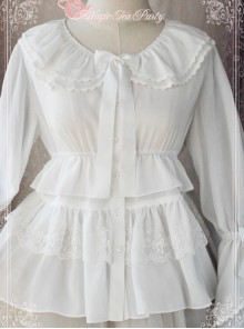 Magic Tea Party White Chiffon Lace Loose Cute Lolita Shirt