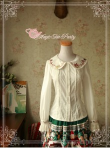 Magic Tea Party Sweet Christmas Series Embroidery Lace Lolita Long Sleeve Shirt