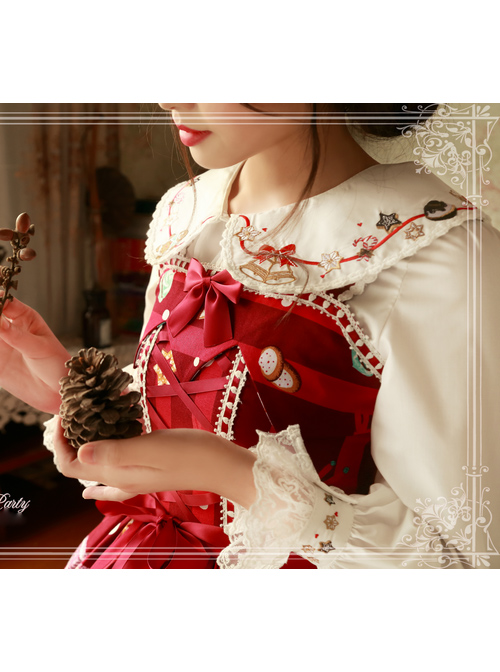 Magic Tea Party Sweet Christmas Series Embroidery Lace Lolita Long Sleeve Shirt