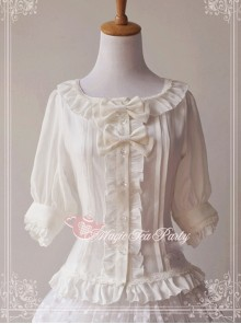 Magic Tea Party Fragrant Summer Series White Lace Half Sleeve Lolita Shirt