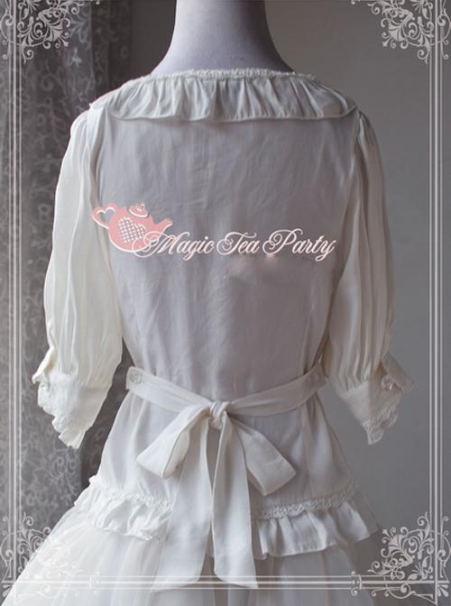 Magic Tea Party Fragrant Summer Series White Lace Half Sleeve Lolita Shirt