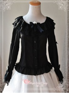 Magic Tea Party Musical Song Series Black Lace Chiffon Lolita Shirt