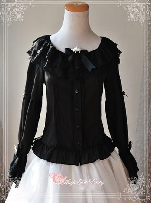 Magic Tea Party Musical Song Series Black Lace Chiffon Lolita Shirt