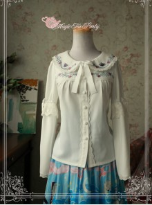 Magic Tea Party Rose Tea Party Series White Chiffon Long Sleeve Lolita Shirt