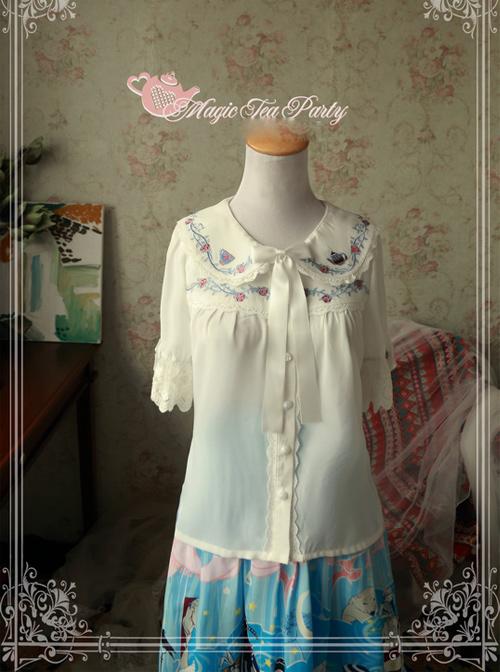 Magic Tea Party Rose Tea Party Series White Chiffon Embroidery Short Sleeve Lolita Shirt