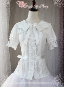 Magic Tea Party Starry Sky Series Star-shaped Collar Chiffon Short Sleeves Classic Lolita Shirt