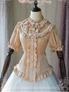 Magic Tea Party Composite Silk Satin Face Chiffon Classic Lolita Shirt