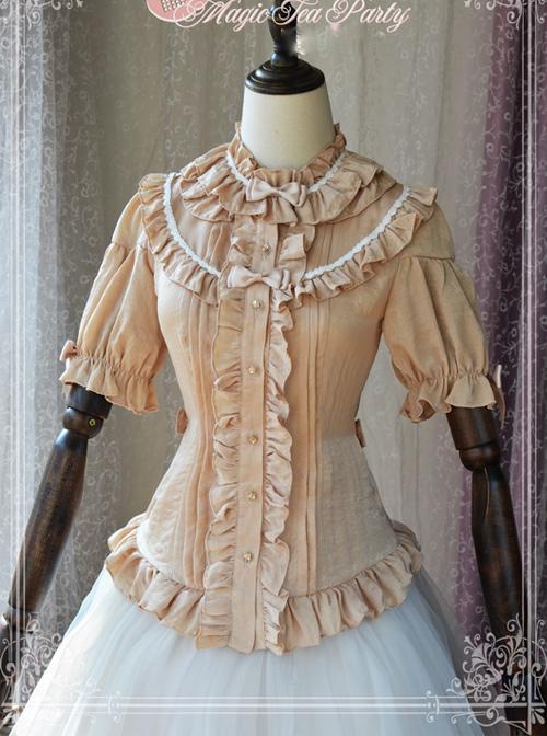 Magic Tea Party Composite Silk Satin Face Chiffon Classic Lolita Shirt