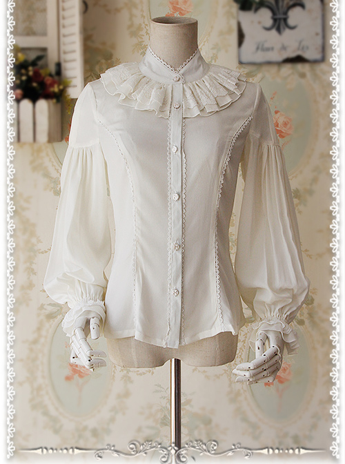 Swan Lake Of Love Series Chiffon Little Standing Collar Classic Lolita Long Sleeves Shirt