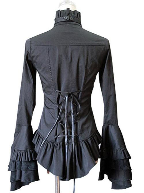 White Trumpet Sleeves Flounced Collar Slim Black Lace Gothic Lolita Shirt