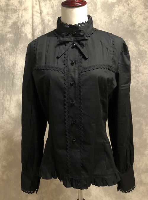 Black Cotton Lace Stand-up Collar Long Sleeves Classic Lolita Shirt
