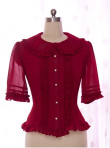 High-end Retro Chiffon Lace-up Slim Lolita Long Sleeve Shirt