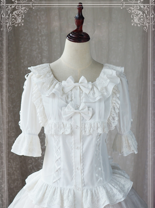Magic Tea Party Wind's Child Series White Short Sleeve Lolita Shirt